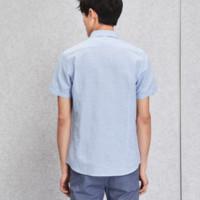 HLA 海澜之家 HNECJ2E078A 条纹棉麻短袖衬衫