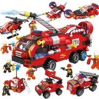 HUIQIBAO TOYS 汇奇宝 消防系列 城市消防车-整套六盒-387颗粒