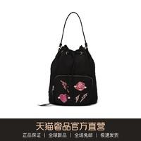 PRADA/普拉达 黑色趣味图案金属字母背提包水桶包女包