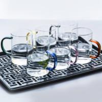 yomerto  透明家用耐高温玻璃杯  6只装