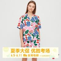 女装 Marimekko 水洗全棉开领衬衫(短袖) 427414