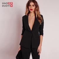 Haoduoyi女生OL职业装黑色一粒扣直筒西装