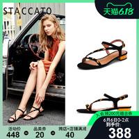 思加图夏季新款休闲时尚金属低跟粗跟露趾舒适女凉鞋9C109BL9