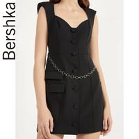 Bershka女士 2020春夏新款链饰紧身黑色V领高腰连衣裙00455168800