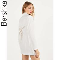 Bershka女士 2020夏季气质通勤流苏白色西装连衣裙 00460168712