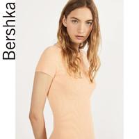 Bershka女士 2020夏季新款罗纹针织紧身短款连衣裙 00437623639