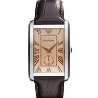 EMPORIO ARMANI AR1605 手表 (31.5mm、棕色、棕色、不锈钢、皮质)