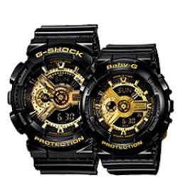 CASIO 卡西歐 G-SHOCK/BABY-G系列 GA-110GB-1A/BA-110-1A 情侶石英手表