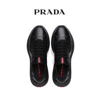 Prada/普拉达黑色皮革织物系带男士运动鞋