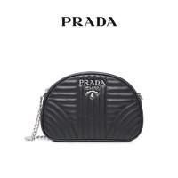 Prada/普拉达 多色牛皮几何压缝LOGO徽标链条单肩女包