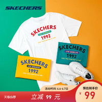 Skechers斯凯奇2020春夏男子印花针织短袖衫运动时尚T恤L220M053