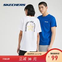 Skechers斯凯奇2020春夏情侣装男女针织短袖运动时尚T恤L220U071