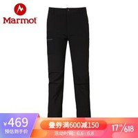 Marmot/土拨鼠20春夏运动防泼水耐磨舒适保暖M1软壳裤男户外 曜石黑001 30(S码)+凑单品