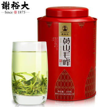 谢裕大黄山毛峰古法揉捻绿茶茶叶大份量红罐200g