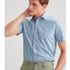 JOEONE 九牧王 TC4020313 男士纯棉短袖衬衫 浅兰条+标准版 170/92A