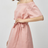 Eifini 伊芙丽 1B4992012 一字领系带收腰连衣裙