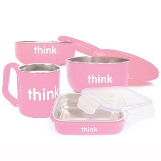 THINKBABY 辛克宝贝 儿童不锈钢宝宝餐具礼盒4件套 粉色