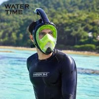 WATERTIME 浮潜三宝面罩全脸潜水镜面镜全干式呼吸管儿童成人游泳装备 清柠绿 小号(S/M)