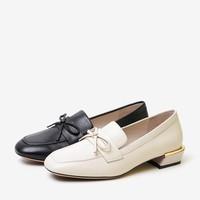 BASTO 百思图 RJ120AQ0 女士羊皮蝴蝶结粗跟乐福鞋