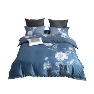 MERCURY 水星家纺 水星家纺 床上四件套纯棉60支长绒棉 丝滑柔软轻奢床品套件 雅韵潇湘 双人1.8床