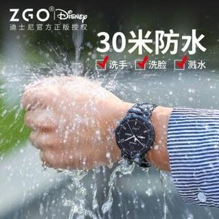 迪士尼(Disney)手表男学生防水夜光青少年石英表男士中学生韩版简约时尚休闲双日历手表 106黑面皮带 *3件