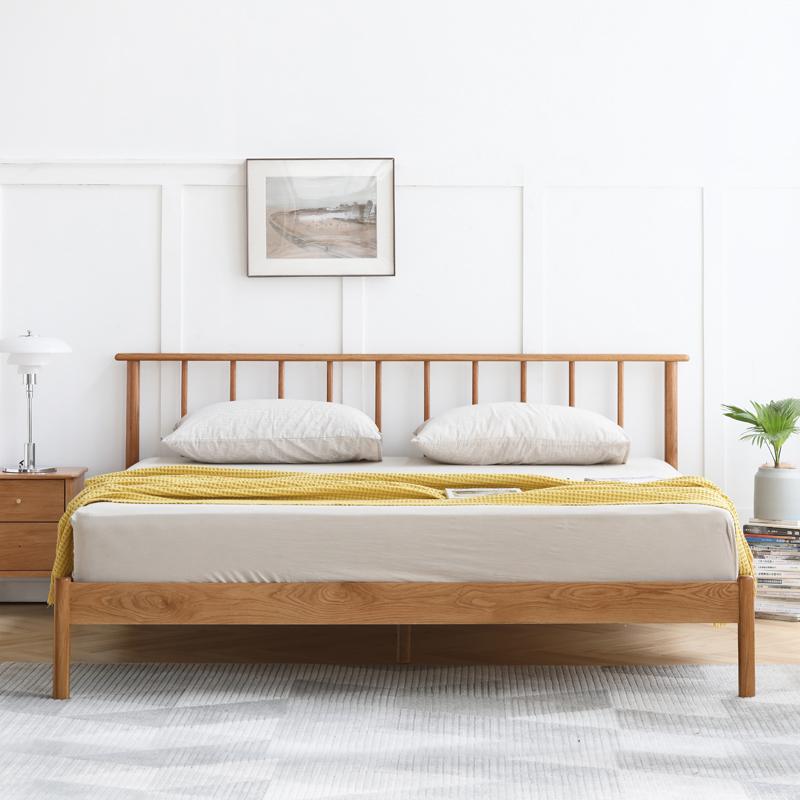 VISAWOOD 维莎原木 奈良系列 N0469 现代简约实木床 原木色 1350*2000mm