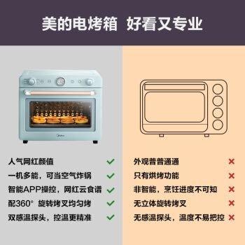 美的(Midea)家用多功能风炉烤箱35L 空气炸 烘焙发酵 珐琅搪瓷内胆 达人菜单WIFI 美的初见电烤箱PT3520W