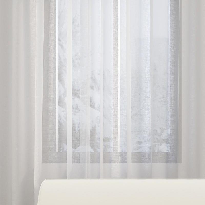 SUNPATHIE 日式开孔式透光窗纱帘 白色