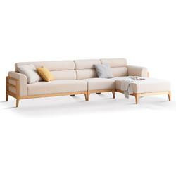 YESWOOD 源氏木语 西雅图系列 Y90H03 实木客厅三人位布艺沙发 左贵妃 米白色