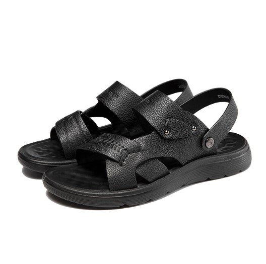 AOKANG 奥康 男士皮质露趾套脚平底凉鞋103712051 黑色42