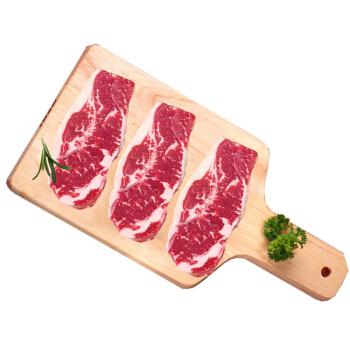 卓宸 澳洲进口COLES谷饲原切西冷牛排 600g(3片) 烧烤烤肉  生鲜牛肉