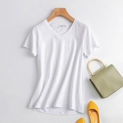 真维斯短袖t恤_真维斯 JY-01-274001-003JF 纯色V领休闲短袖T恤女-什么值得买