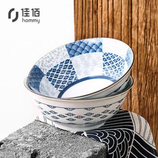 佳佰时尚餐具 日式泡面碗汤碗陶瓷碗具 春语6英寸大碗2个装 方便面碗拉面碗牛肉面碗汤粉碗深碗喝粥碗家用