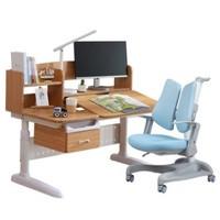 Totguard 护童 竹韵系列 HT-512AN+HTY-637F 实木儿童学习课桌椅套装 蓝色