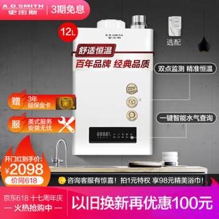 史密斯(A.O.Smith)12升燃气热水器 家用 双温度传感器 智能恒温 大屏设计 防冻 JSQ24-J0(天然气) 家电