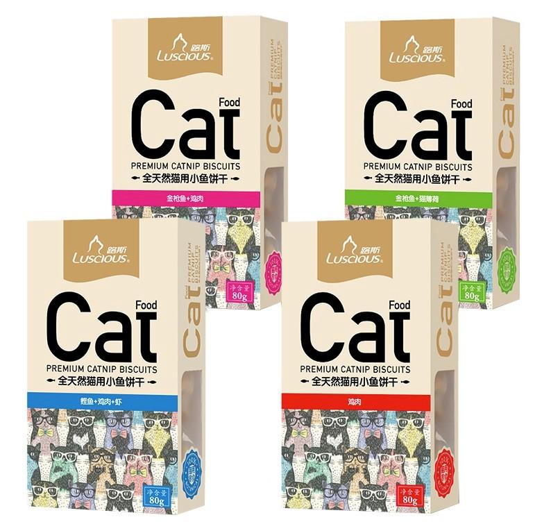 luscious 路斯 猫饼干猫咪零食路斯猫用小鱼干 猫薄荷饼干幼猫磨牙零食 80g 10盒混拼