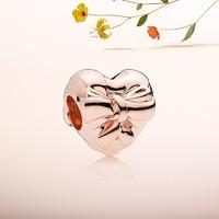 PANDORA 潘多拉 華麗心形蝴蝶結串飾 787303 玫瑰金色