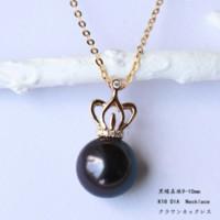 PearlYuumi 優美 黑蝴蝶珍珠钻石项链 9-10mm/D0.03ct 3pcs