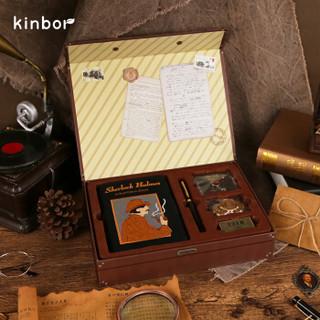 有券的上 : kinbor×西西弗 DT56000 福尔摩斯手账礼盒 (A6笔记本子/钢笔/胸针/火漆蜡贴纸/墨囊/复古信封)