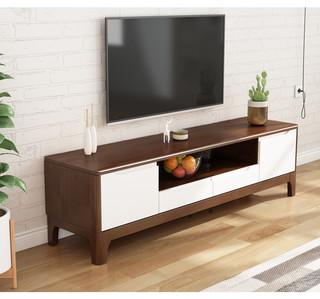 客家木匠 北欧实木电视柜现代简约小户型客厅影视柜胡桃色卧室电视机柜地柜