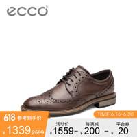 ECCO爱步商务正装皮鞋男 英伦复古牛津鞋雕花布洛克鞋 唯途640314 棕色64031401009 43