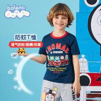 Baleno班尼路童装2020男童新款托马斯印花短袖T恤儿童上衣夏装纯棉 33B深宝蓝 150cm(150CM)