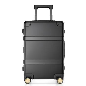 90分金属拉杆箱 航空级镁铝合金登机箱 超静音万向轮旅行箱 黑色指纹版 20英寸 可登机