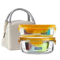 Glasslock 三光云彩 保鲜碗套装 黄盖长400ml+圆660ml