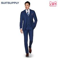 Suitsupply-Lazio中蓝色羊毛平纹商务休闲男士西装三件套