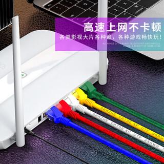山泽(SAMZHE)超五类网线 CAT5e类高速百兆网线 1米 工程/宽带电脑家用连接跳线 成品网线 蓝色 HSZW-1010