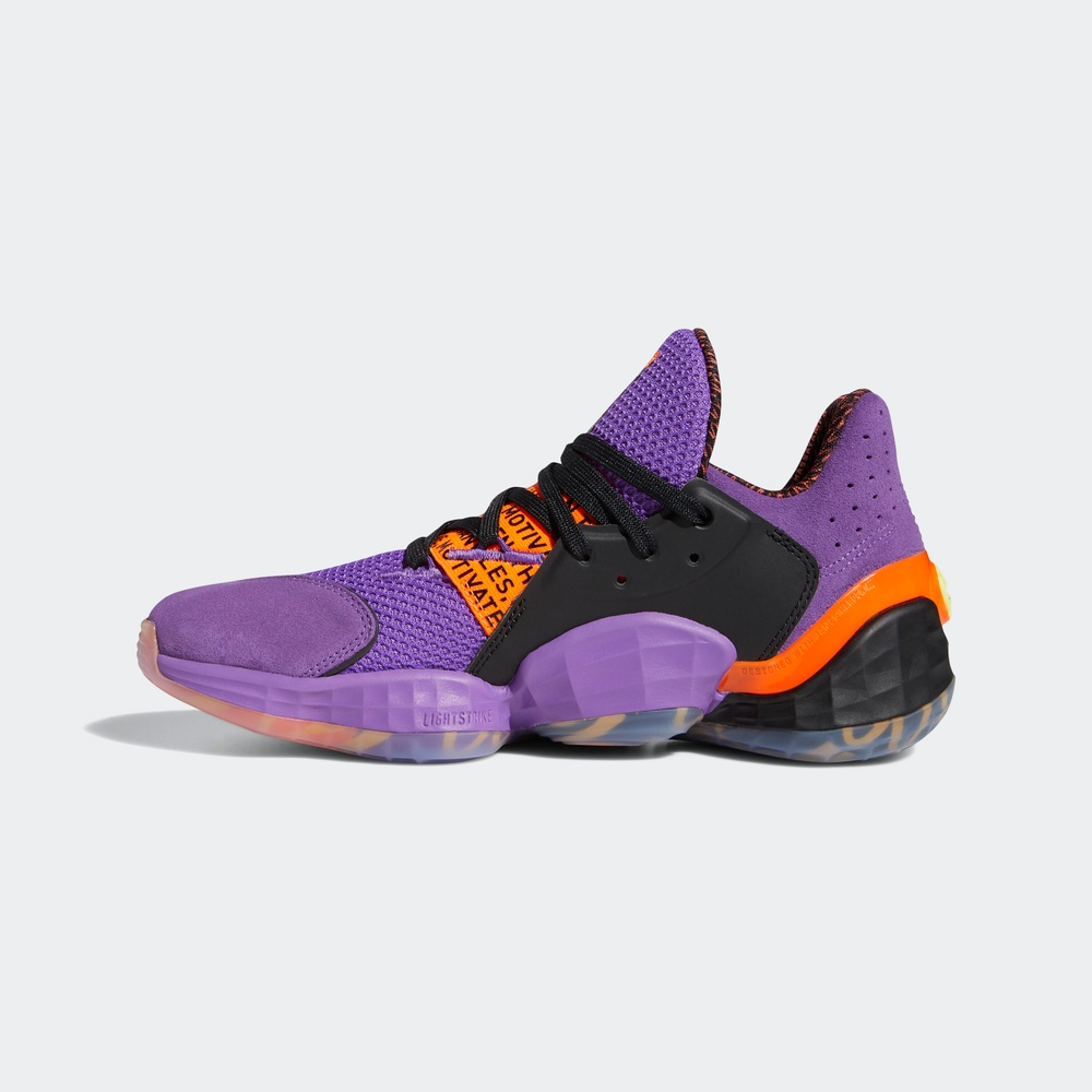 adidas 阿迪达斯 James Harden系列 Harden Vol.4 GCA - McDonalds 篮球鞋 FX2084 (紫色/警报红荧光/1号黑色、46)