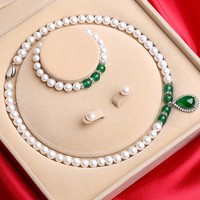 知尊 淡水珍珠项链+手链+耳钉三件套 带证书礼盒装