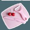 美帮汇 陶瓷水果刀砧板  粉色三件套