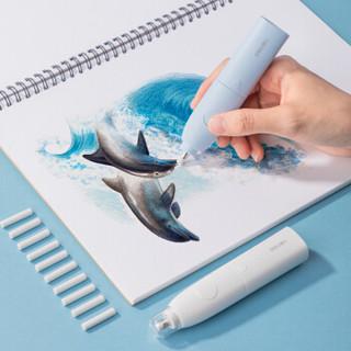deli 得力 学生时尚电动橡皮擦 绘画美术橡皮含10枚替芯 冰川蓝 71073